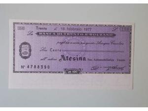 Mini Assegno Circolare lire 100 Banca di Trento e Bolzano