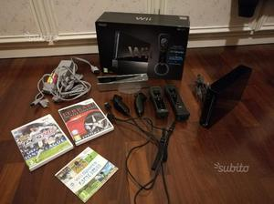 Wii nera con accessori e giochi