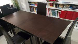 Tavolo rettangolare allungabile con 4 sedie wengè