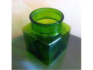 Grande antico vaso ciotola scatola vetro verde Italian