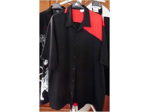 Camicia bowling color rosso nero, casual uomo taglia (xl)