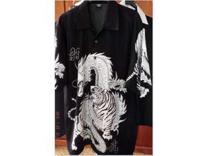 Camicia nera drago & tigre elegante, casual uomo taglia (xl