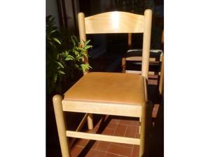 Due sedie in legno color frassino con seduta in pelle