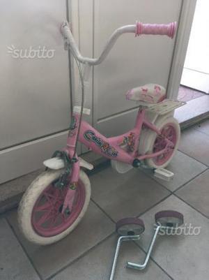 Bicicletta bambina rosa 14 pollici con rotelle