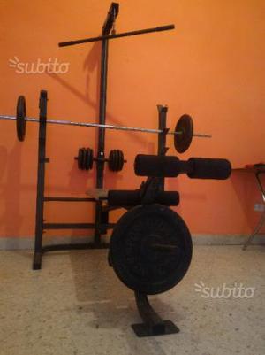 Panca multifunzione completa di pesi e bilanciere