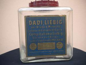 LIEBIG vaso vetro anni  originale con scritta e tappo