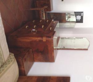 Toletta consolle legno cassetto con sgabello posot class - Toletta da camera ...