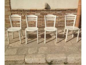 4 sedie in legno massello laccate bianche vintage