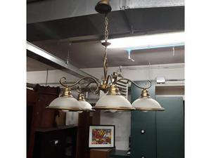 Lampadario struttura in ottone a 5 braccia - vetro