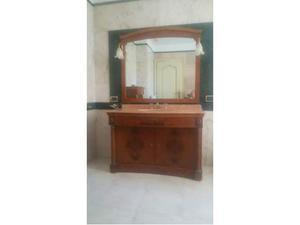Mobile bagno e settimino in legno radica e ottone