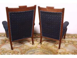 Splendida coppia di poltrone / sedie in stoffa ricamata