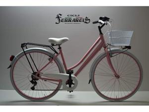 Bici bicicletta da donna 28 allum. 6v bianca rosa