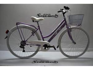 Bici bicicletta da donna 28 allum. 6v glicine bianca