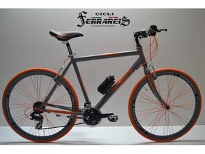 Bici ibrida 28 grigio arancio bicicletta ibrida bici corsa