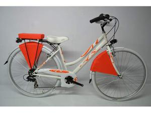 City bike donna 28 all.6v bianca arancio grigio