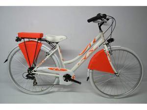City bike donna 28 in acciaio bianca ed arancio 6v