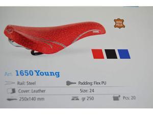 Sella bici mtb  young da full mtb Rossa nera arancio