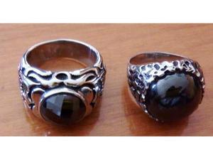 2 anelli in acciaio inox con pietra