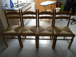 4 sedie in legno massello per cucina