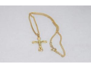 Collana e croce da uomo in oro giallo  kt