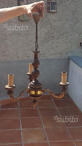Lampadario legno bronzo