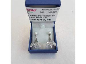Orecchini pendenti strass ins perline argentati