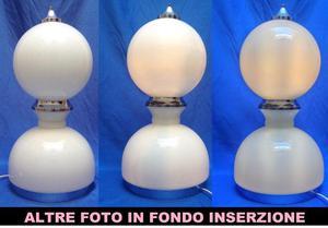 lampada tavolo mazzega vetro opaline acciaio space Euro 180