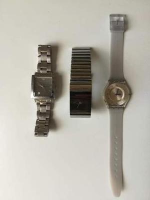 Lotto 3 orologi Fossil Starck, Emporio Armani, Swatch