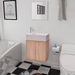 vidaXL Set 3 pz Mobili da bagno e lavandino beige