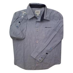 camicia in cotone a righe toni blu, taglia 7a