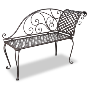 vidaXL Panchina in metallo schienale con disegno marrone