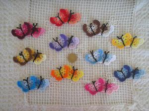 2 coppie di farfalline ad uncinetto