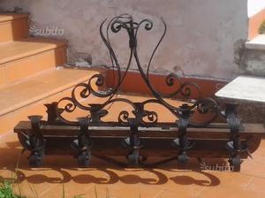 LAMPADARIO rustico di legno