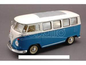 Welly WE VW BUS  BLUE W/WHITE ROOF 1:24 Modellino