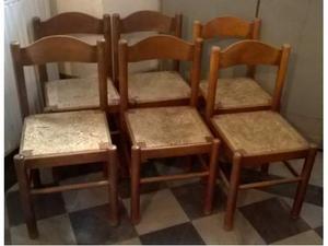 6 sedie legno massello marrone paglia cucina salotto bar
