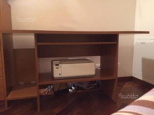 Scrivania tavolo porta cavi computer stampante posot class - Porta stampante ikea ...