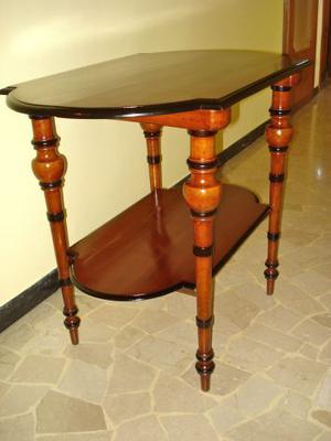 Tavolino etagère antico '800 in noce massello, restaurato a