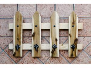 Attaccapanni in legno massello con ganci in ferro battuto