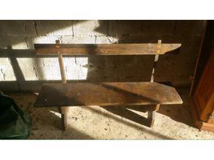 Stock di 7 Panche in legno massello con schienale diverse