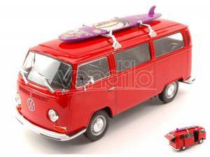 Welly WER VW T2 BUS W/SURFBOARD  RED 1:24 Modellino