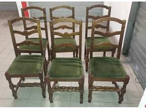 6 sedie vintage in legno massello