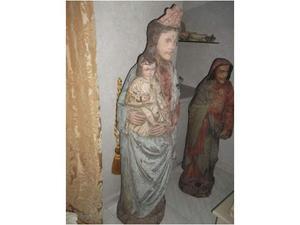 Antica grande statua in legno madonna con bambino arte russa
