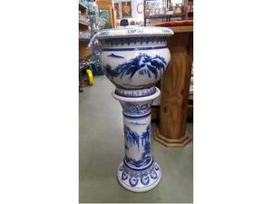Colonnina + vaso ceramica bianca blu
