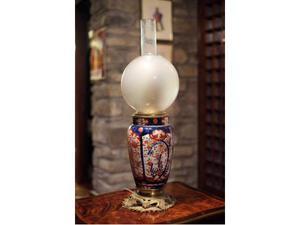 Coppia lampade da tavolo in ceramica decorata con boccioni