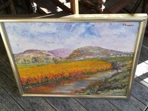 Dipinto a olio su tela con paesaggio