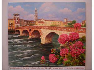 Ponte pietra - olio su tela cm. 60 x 50