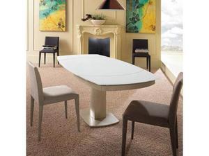 Tavolo Da Pranzo Allungabile Con Top In Vetro Bianco