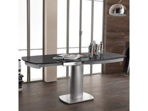 Tavolo Da Pranzo Allungabile Con Top In Vetro Grigio