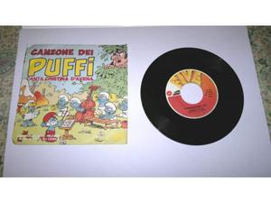 Disco 45 giri la canzone dei puffi - cartoni animati -