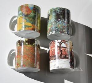 4 tazze mug con serigrafia di quadri famosi